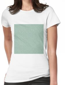 Snowstorm blizzard on a pastel green background Womens Fitted T-Shirt