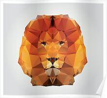 Geometric polygon lion Poster
