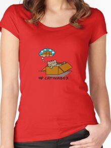 Cat in a box  Women's Fitted Scoop T-Shirt