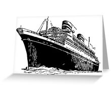 Cruise Ship, Ocean Liner, Ship, Trans Atlantic Greeting Card