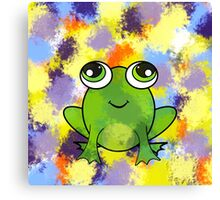Cute frog and fresh paint Canvas Print