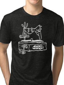 Flintstones Vinyl Record Dj Turntable Tri-blend T-Shirt
