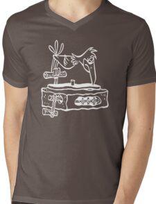 Flintstones Vinyl Record Dj Turntable Mens V-Neck T-Shirt