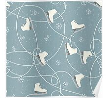 Ice skating boots, snowflakes and ice trails on a snowy blue grey background Poster