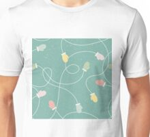 Fun colourful gloves, mittens tied with string design on a green background Unisex T-Shirt