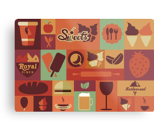 Food Icons Metal Print