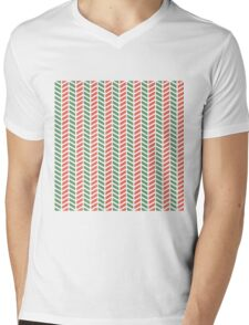Fun green and red weave stripes for Christmas decor Mens V-Neck T-Shirt