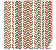 Fun green and red weave stripes for Christmas decor Poster