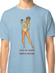 Save an Apple, Eat a Nurse Vintage Pinup Girl Classic T-Shirt