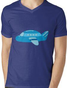 Cute Blue Airplane Travel Mens V-Neck T-Shirt