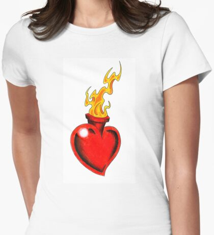 Burning Heart Womens Fitted T-Shirt