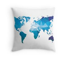 World map in geometric triangle pattern design Throw Pillow