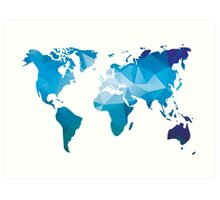 World map in geometric triangle pattern design Art Print