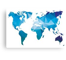 World map in geometric triangle pattern design Canvas Print