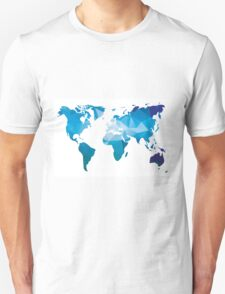World map in geometric triangle pattern design T-Shirt