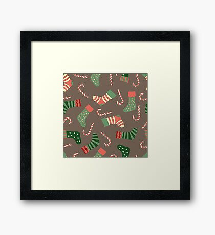 Christmas stockings and candy canes fun design  Framed Print