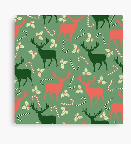 Deer and candy canes fun Christmas design  Canvas Print