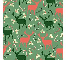 Deer and candy canes fun Christmas design  Photographic Print