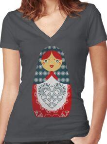 Crochet Doll Women's Fitted V-Neck T-Shirt