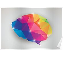 Abstract geometric human brain, triangles, creativity Poster
