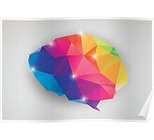 Abstract geometric human brain, triangles, creativity Poster