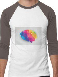 Abstract geometric human brain, triangles, creativity Men's Baseball ¾ T-Shirt