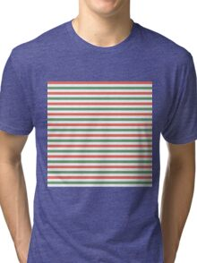 Red, green and white stripes, fun Christmas colours Tri-blend T-Shirt
