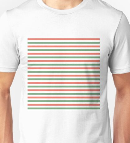 Red, green and white stripes, fun Christmas colours Unisex T-Shirt