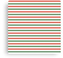 Red, green and white stripes, fun Christmas colours Canvas Print