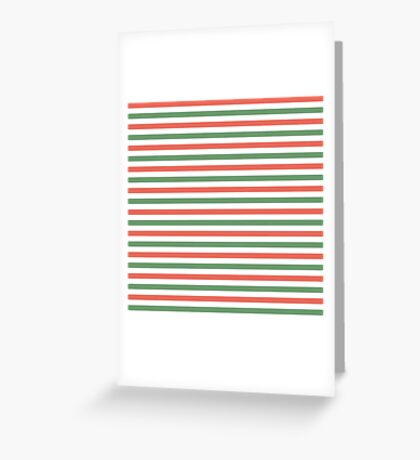 Red, green and white stripes, fun Christmas colours Greeting Card