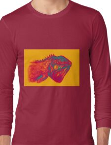 Colorful iguana watercolor painting Long Sleeve T-Shirt