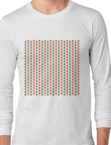 Red, green and white herring bone pattern in Christmas colours Long Sleeve T-Shirt