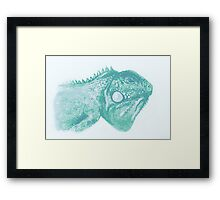 Colorful iguana watercolor painting Framed Print