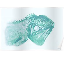 Colorful iguana watercolor painting Poster