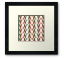 Red, green and white herring bone pattern in Christmas colours Framed Print