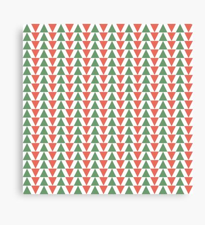 Red, green and white herring bone pattern in Christmas colours Canvas Print