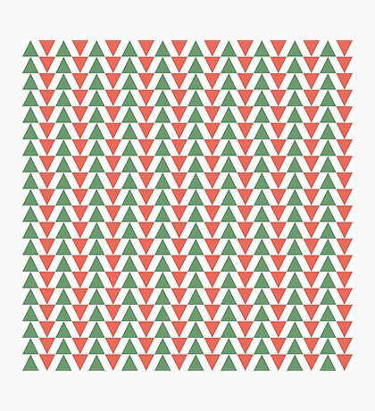 Red, green and white herring bone pattern in Christmas colours Photographic Print