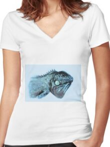 Colorful iguana watercolor painting Women's Fitted V-Neck T-Shirt