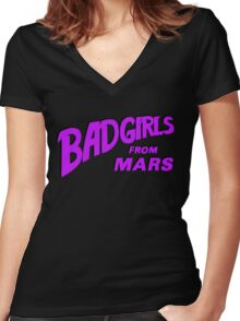 Bad Girls From Mars Spaceploitation Women's Fitted V-Neck T-Shirt
