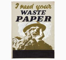 Vintage poster - I Need Your Waste Paper One Piece - Short Sleeve