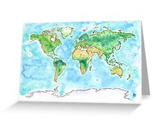 World Watercolor Map  Greeting Card