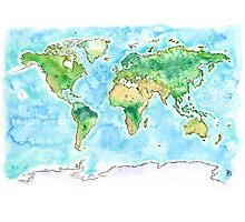 World Watercolor Map - Giclee Print of Hand Painted Original Art Photographic Print