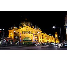 Melbourne by Night - Flinders St Station Photographic Print