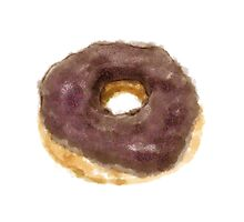 Watercolor donut with chocolate glaze Photographic Print