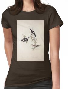 John Gould The Birds of Europe 1837 V1 V5 063 Pied and White Collared Flycatcher Womens Fitted T-Shirt