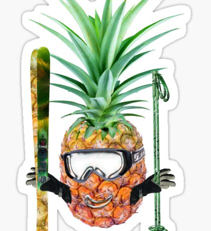 Smiling pineapple-downhill skier Sticker