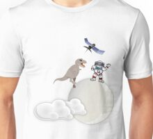 Astronaut and T-Rex on the Moon Unisex T-Shirt