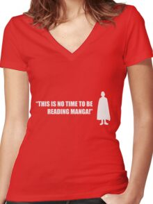 This Is No Time To Be Reading Manga! - One Punch Man Women's Fitted V-Neck T-Shirt