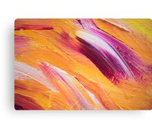 Abstract Paint Strokes Bold Yellow and Raspberry Canvas Print