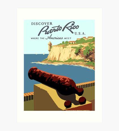 Vintage Discover Puerto Rico WPA Art Print